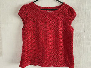 BODEN  red lace  Top size 12