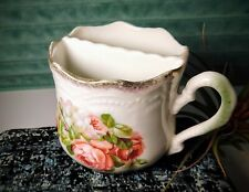 Victorian Era Leuchtenburg Germany Green Shaving Scuttle Mug Hand-Painted