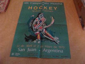 original  POSTER  XIX ROLLER HOCKEY WORLD CHAMPINSHIP in San Juan Argentina 1970