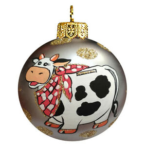 Handblown Christmas Glass Ornament, Christmas New Year, Symbol of Year 2021 COW