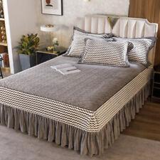 Quilted Jacquard Velvet Queen Bedspread King Size Patchwork Bed Sheet Super Soft