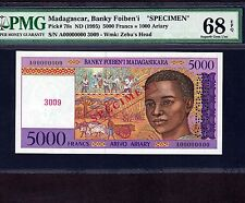 Madagascar, 5000 Francs 1995, P-78s * Specimen * PMG Superb Gem Unc 68 EPQ