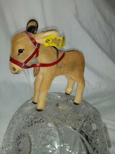 Vintage STEIFF DONKEY 5 in tall (to ear tip) 1412.0 button & tag, Brown velvet