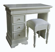 Antique White Pedestal Dressing Table with 5 Drawers and Stool DSK018P