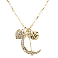 Lux Accessories Goldtone Pave Heart Crescent Moon Arrow to Moon Back Necklace