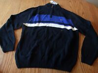 Nwt Mens Chaus Long Sleeve 1/4 Zip Sweater Blue Striped X-Large XL $69.50