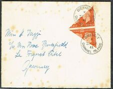 1941 Guernsey 2x 2d Centennial Bisects on Cover Local Use Very Fine Used