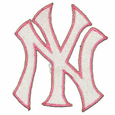 """New York Yankees  Baseball MLB Iron On Patch Embroidered Team Logo 3"""" inch PINK"""