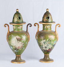 Pair of 19th Century Hand Painted Terracotta Vases with Open Iron Tops