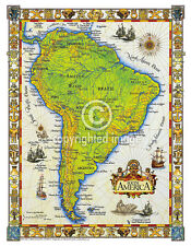"19.5 x 25"" South America Vintage Look Map Printed on French Parchment Paper"