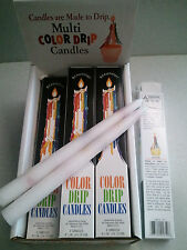 """24 Multi-Color TAPER DRIP CANDLES  3/4"""" x 9 1/2"""" long (12 packs of 2)"""
