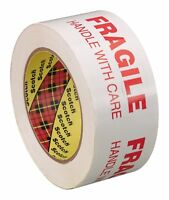 3M 68772 Scotch FRAGILE HANDLE WITH CARE Box Tape 3772, 48 mm x 100 m, 2-Pack