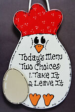 COUNTRY CHICKEN SIGN Today's Menu KITCHEN Wall Hanger Plaque Rooster Farm Decor