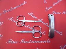 Nagelschere + Hautschere 9 cm gebogen + Nagelknipser ca 9cm.