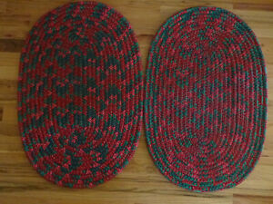 Christmas Red & Green braided rugs (2)