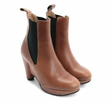 JOHN FLUEVOG SHOES WRITES PAGLIA PLATFORM WEDGE ANKLE BOOTS ORANGE BROWN $375 10