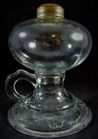 Vintage Footed Hand Oil or Kerosene Lamp Flower Band Around Base Clear Glass