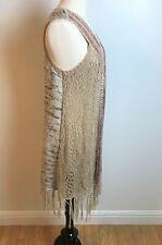 Women's Long Sweater Vest Cardigan Fringe Size L