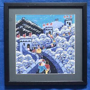 Original Chinese Art Watercolour Painting People Walking On Great Wall Of China