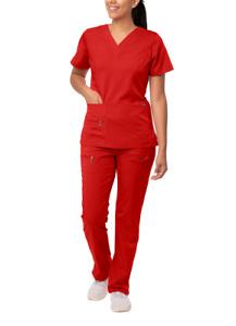 Adar Uniforms Women's Scrub Set - Enhanced V-Neck Top/Multi Pocket Pants