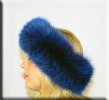 New Electric Blue Fox Fur Headband 26 Inches Long and 5 Inches Wide