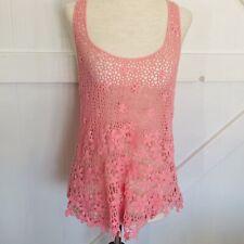 FANG Pink Crotchet Racerback Tank Or Swim Suit Cover Size MEDIUM M