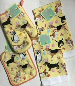 Easter Dogs Set of 4 Items-2 Kitchen Towels 1 Oven Mitt 1 Pot Holder Multi-color