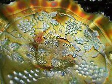 Northwood~STIPPLED~GRAPE & C ANTIQUE CARNIVAL ART GLASS RUFFLED BOWL~LIME GREEN!