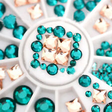 3D Nail Art Tips 2 Farben Dekor Square Round Glitter Glass Rhinestone+Wheel Neu