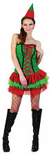 Ladies Christmas Elf Outfit Xmas Red Fancy Dress Costume & Hat Womens UK 10-14