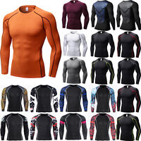 Men's Gym Compression Base Layer Long Sleeve Tight Tops Sports Fitness T-shirts