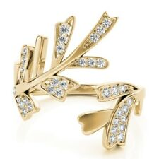 Vine Right Hand Split Shank Ring New Ladies 14k Yellow Gold Diamond Leaf