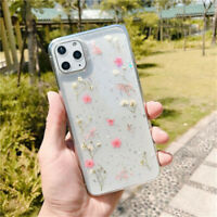 For iPhone 11 Pro Max Handmade Real Dried Pressed Flowers Phone Case Protection