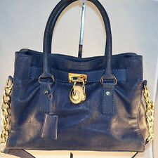 Michael Kors Hamilton Tote Shoulder Bag Chain Strap Leather Gold Hardware Blue