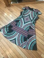 Shelby & Palmer cap sleeve dress size 12 Turquoise swirls black and white