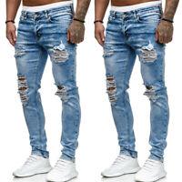 Herren Destroyed Stretchy Ripped Jeans Denim Hose Slim Fit Distressed Jeanshose