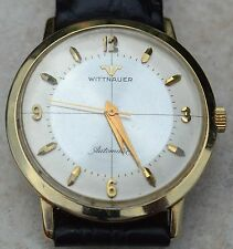 14K WITTNAUER AUTO WRISTWATCH-17J CAL 11AHS1-NEW BLACK KREISLER CROCO BAND-585