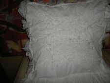 SHABBY COTTAGE CHIC & WHITE EYELET RUFFLED SQUARE THROW PILLOW COVER 18 X 18