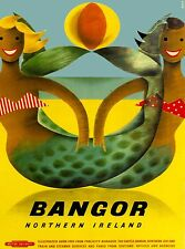 Bangor North Ireland United Kingdom Mermaid Vintage Travel Art Poster Print