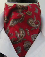 Mens Deep Red and Tan Paisley Design Cotton Ascot Cravat & Pocket Square