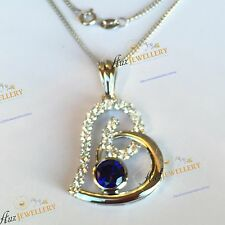 """40mm Huge Heart Pendant Lab Created Blue Sapphire 925 Silver 18"""" Chain Necklace"""