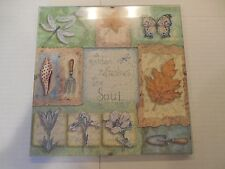 """A Garden Refreshes the Soul"" Wall Art Hanging Plaque Hand Stitched Center"