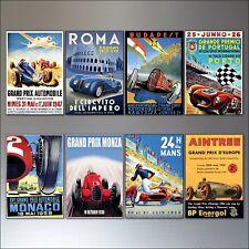 VINTAGE Auto Motor Racing Grand Prix Sports POSTER Magneti Frigo Set Di 8