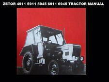 ZETOR 4911 5911 6911 6945 OPERATION MAINTENANCE MANUAL w/ Tractor Service Repair