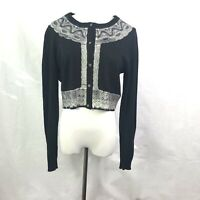 Anthropologie Charlie Robin Sz Large Lace Cardigan Black Wool Cropped Sweater