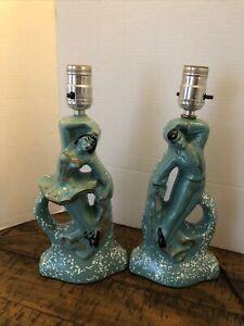 "Vintage Mid Century Turquoise/ White Specks Ballerina Dresser Lamps 12"""
