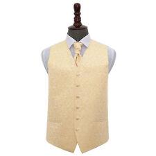 "DQT Swirl Patterned Gold Mens Wedding Waistcoat & Cravat Set Pin 5xl - 50"" Yes Please. No Thanks."