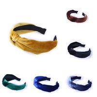 Women Fashion Girl Sweet Bowknot Wide Hairband Headband Solid Hair Accessories