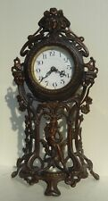 antique bronze patinated spelter art nouveau clock with maiden 1900 germany 16""