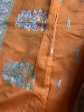 Lovely tangerine and aqua cotton silk Saree bonus chioli/blouse/wearable